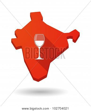 Long Shadow India Map Icon With A Cup Of Wine