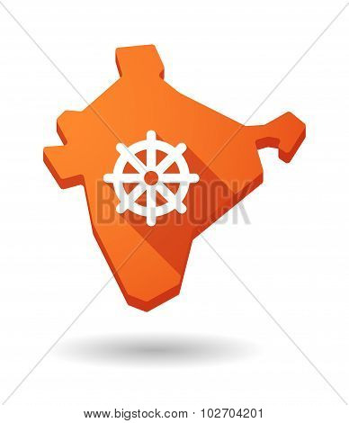 Long Shadow India Map Icon With A Dharma Chakra Sign