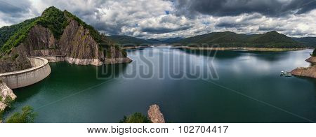 Mountain Landscape Panorama With Dam And Lake