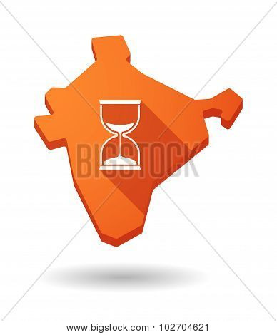 Long Shadow India Map Icon With A Sand Clock