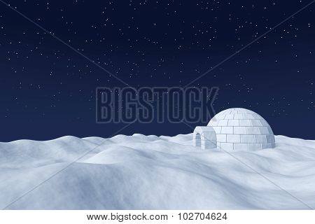 Igloo Icehouse On Polar Snow Field Under The Night Sky With Stars.