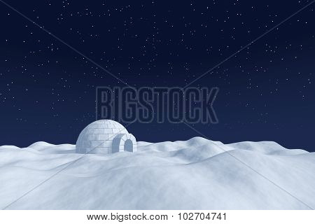 Igloo Icehouse On Snow Polar Field Under Night Sky With Stars.