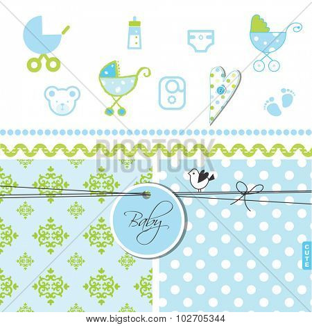 Baby shower scrapbook elements