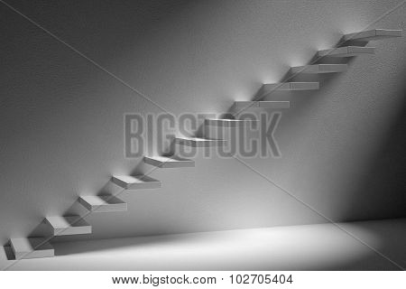 Ascending Stairs Of Rising Staircase In Dark Empty Room With Light 3D Illustration