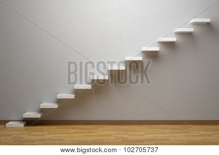 Ascending Stairs Of Rising Staircase In Empty Room With Parquet Floor And Plinth.