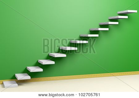 Ascending Stairs Of Rising Staircase In Green Empty Room With Beige Floor And Plinth
