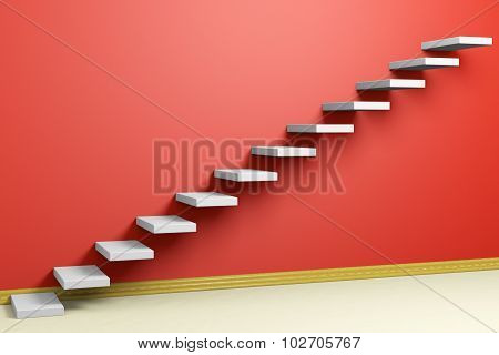 Ascending Stairs Of Rising Staircase In Empty Red Room With Beige Floor And Plinth
