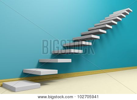 Ascending Stairs Of Rising Staircase In Blue Empty Room With Beige Floor.