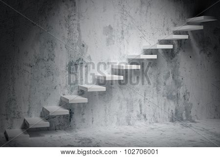 Ascending Stairs Of Rising Staircase In Dark Rough Empty Room With Spot Light 3D Illustration