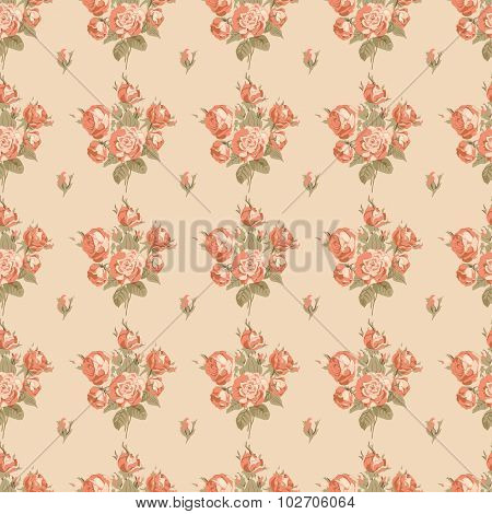 Seamless vintage pattern with bouquets of roses garden roses Victorian style.