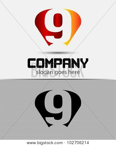 Vector sign number 9 logo icon