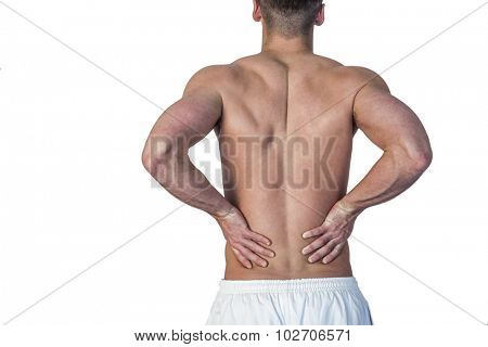 Rear view of a man undergoing back pain over white background