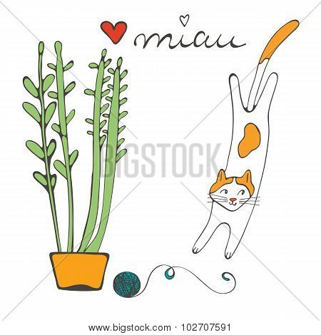 Illustration of plant and a cat playing with ball of wool