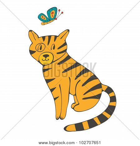 Hand drawn illustration of cute domestic cat and butterfly