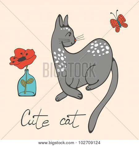 Illustration of a cat and a flower in glass vase