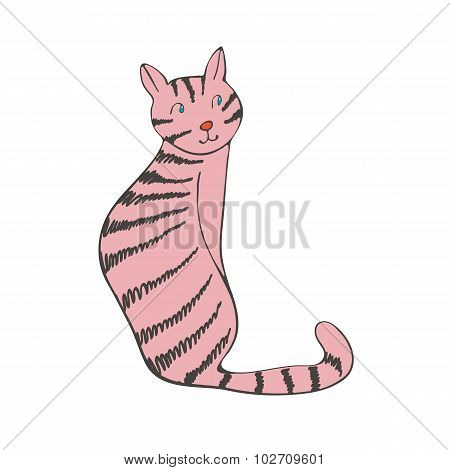 Hand drawn illustration of cute domestic cat