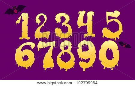Set Of Yellow Hand Drawn Glowing And Melting Numbers On The Purple Background, Cheese Or Hallowen De