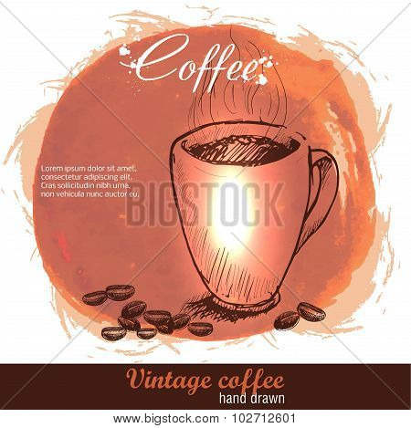 Vintage hand drawn coffee cup with cofee beans.