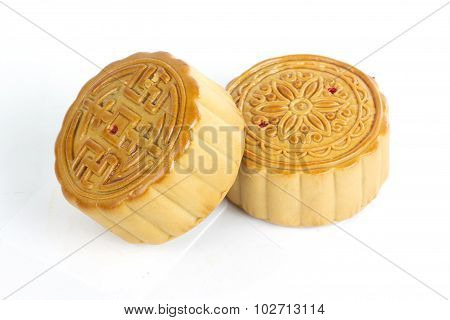 2 Piece Of Moon Cake On White Background