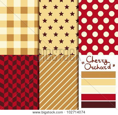Set of 5 simple seamless geometric patterns. Cherry orchard color palette.