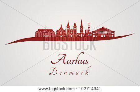 Aarhus Skyline In Red