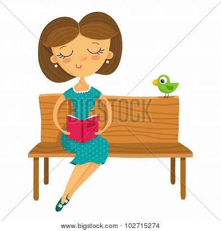 Young Girl Sitting On A Bench And Reading A Book, Isolated On White