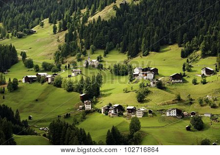 Beautiful italian village in Dolomites