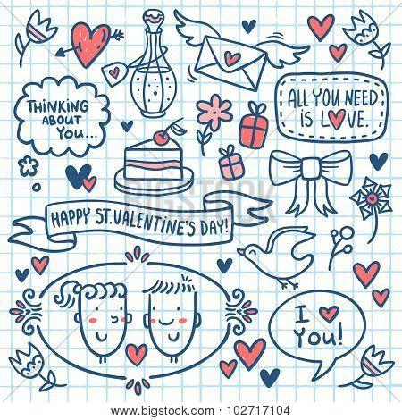 Valentine Doodle Set Drawn On Notebook Paper