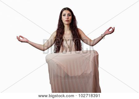 Portrait of woman levitating against white background