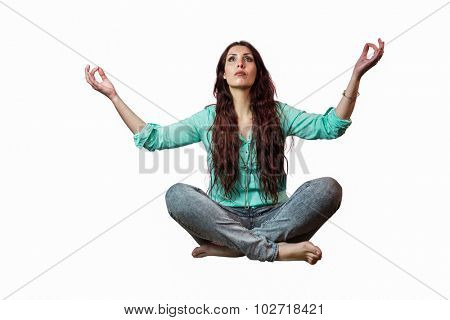 Full length of beautiful woman levitating against white background