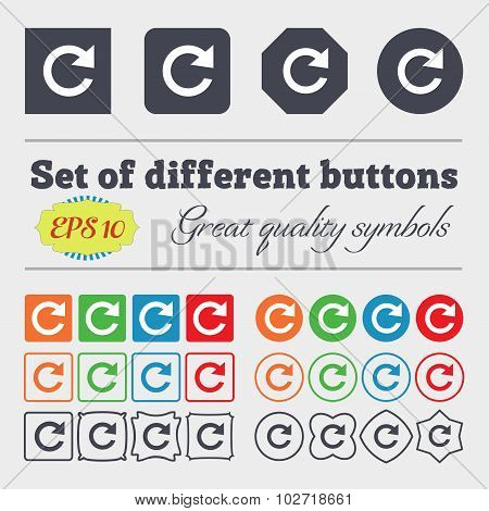 Update Sign Icon. Full Rotation Arrow Symbol. Big Set Of Colorful, Diverse, High-quality Buttons. Ve