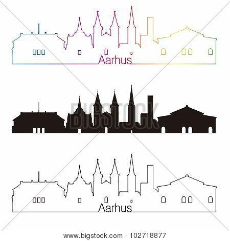 Aarhus Skyline Linear Style With Rainbow