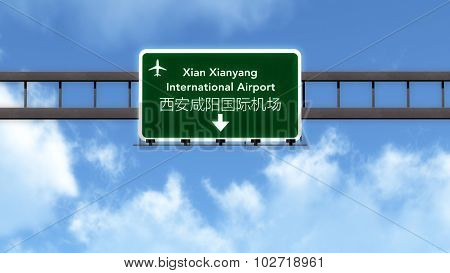 Xian China Airport Highway Road Sign