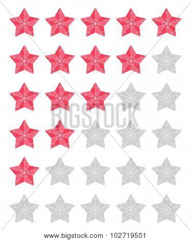 Set Of Red Rating Stars