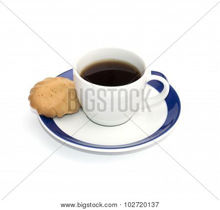 Cup Of Coffee And One Baking On A Saucer, Isolate