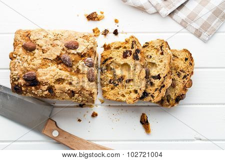 Christmas stollen on white table