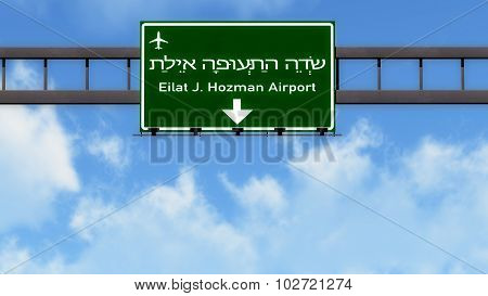 Eilat Israel Airport Highway Road Sign