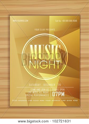 Glossy stylish Music Night Party celebration flyer, banner or template on wooden background.