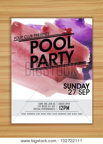 Pool Party celebration template, flyer or banner with colorful splash on wooden background.