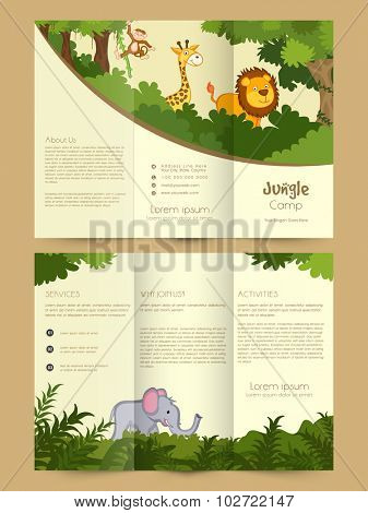 Stylish Trifold, Flyer, Banner or Template design with wild animals for Jungle Camp.
