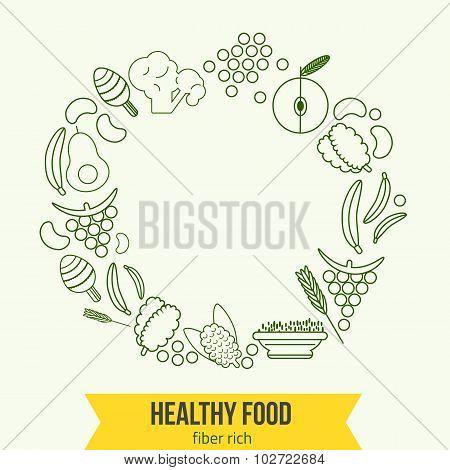 Vector  healthy rich fiber foods line icons wreath. EPS10