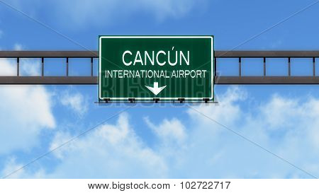 Cancun Mexico Airport Highway Road Sign