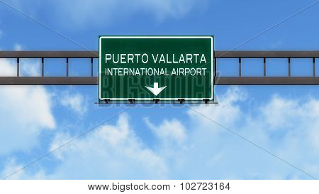 Puerto Vallarta Mexico Airport Highway Road Sign