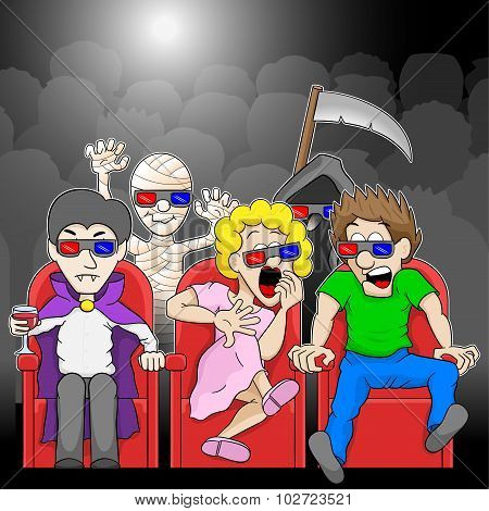 Couple Is Watching A 3D Horror Movie In A Cinema