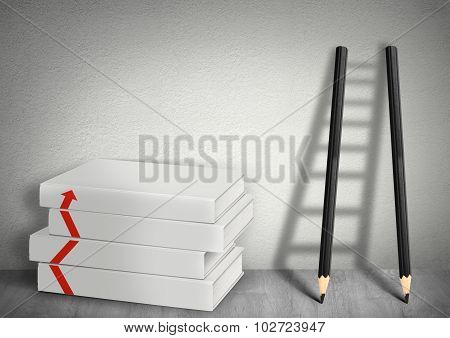 Business Development Concept, Books Blank And Ladder From Pencils