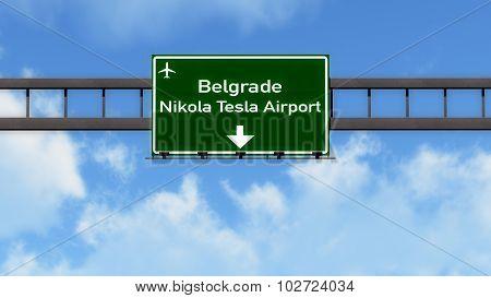 Belgrade Serbia Airport Highway Road Sign