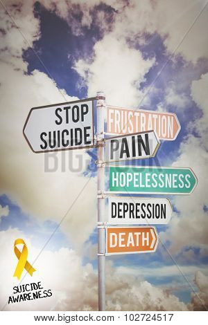 Suicide awareness ribbon against multi colored sign posts against cloudy sky