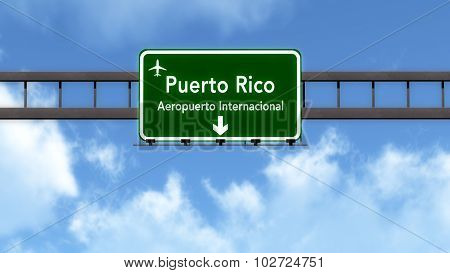 Puerto Rico Airport Highway Road Sign