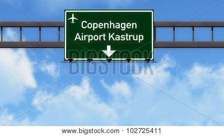 Copenhagen Denmark Airport Highway Road Sign