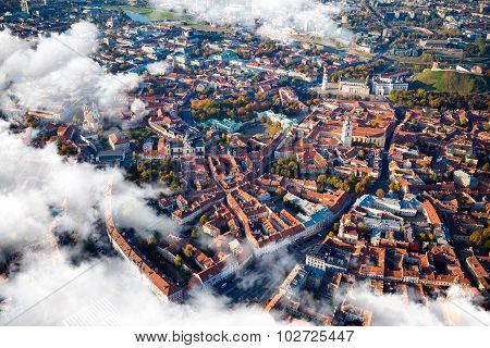 Aerial view of Vilnius, Lithuania.